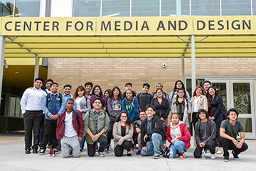 Students from Roosevelt High School in East Los Angeles at Santa Monica College's Center for Media and Design.