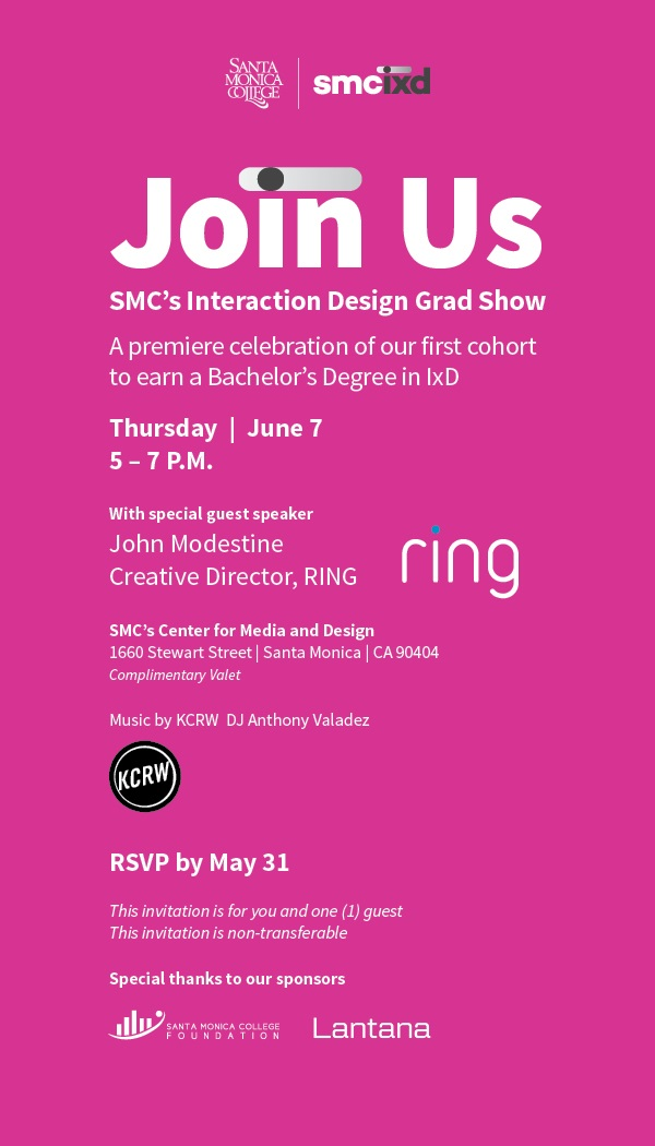 Join Us for SMC's Interaction Design Grad Show