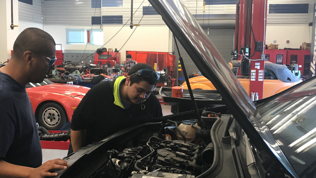 Student working under the hood of a car