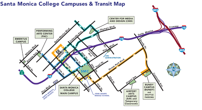 SMC Campuses and Transit Map