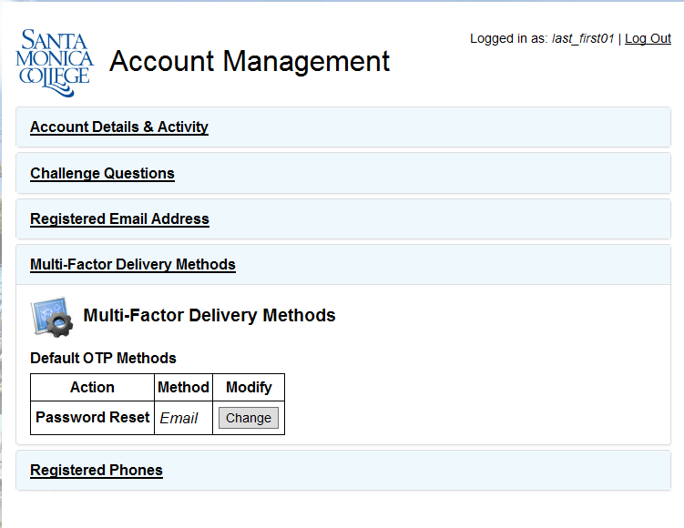 Account Management delivery method screen example
