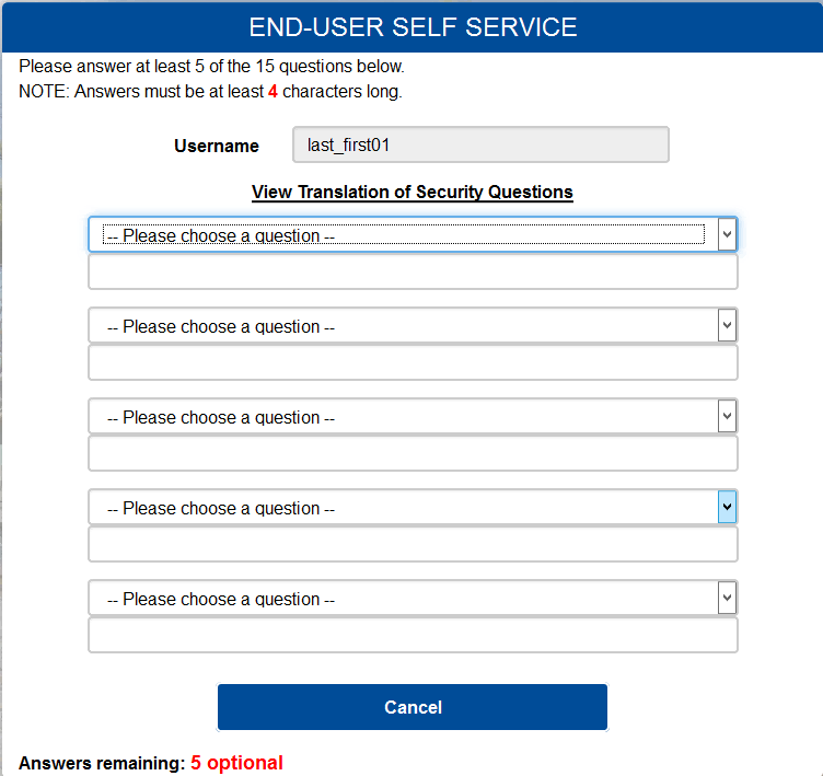 End-user self service challenge question screen