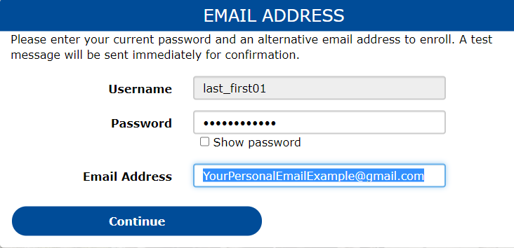 Email address registration screen