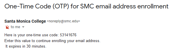 O-T-P example email