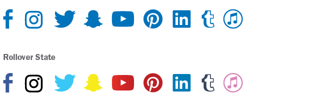 Social Media Icons with and without Rollover State