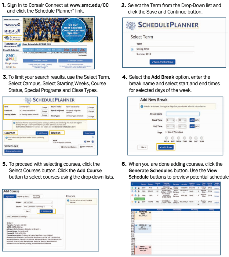 how to use schedule planner