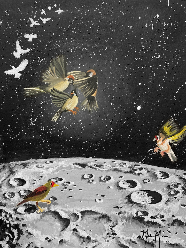 Birds in the moon