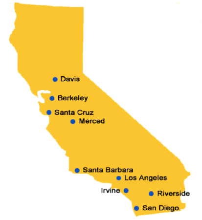 Map of the California marked with the locations of the UC campuses