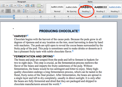 Heading 1 Style Screen Shot of Producing Chocolate Document