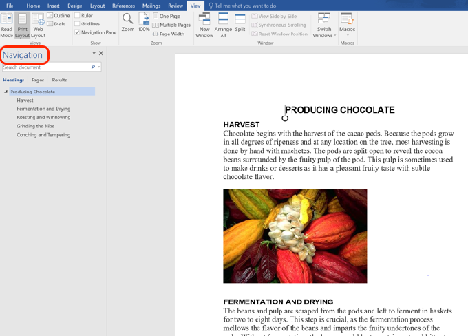 Navigation Pane Screen Shot of Producing Chocolate Document
