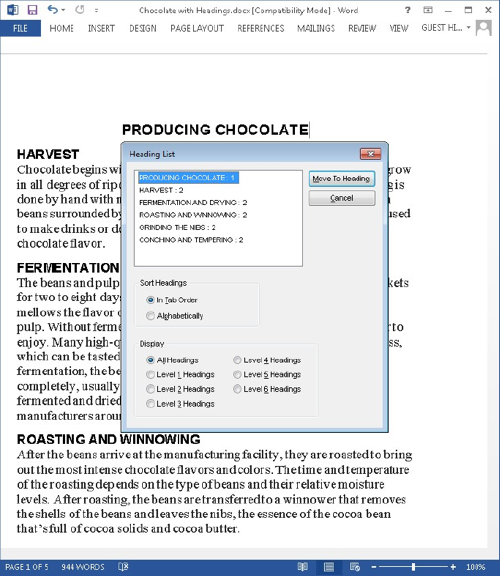 Heading List Screen Shot of Producing Chocolate Document