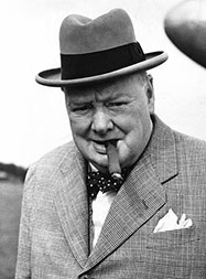 Winston Churchill wearing a Homberg hat and smoking a Cuban Cigar.