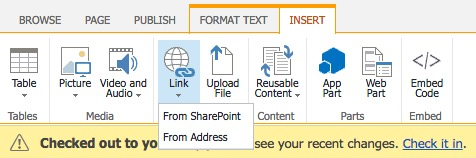 Adding hypertext links through the Links icon from the SharePoint Insert Editing Tools options